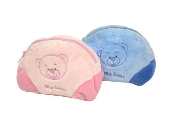 Plyšové pouzdro nebo  peněženka s medvídkem - modrá