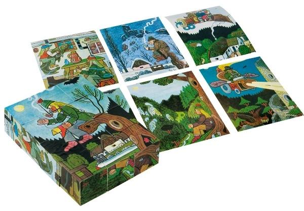 Dřevěný kubus s obrázky Josefa Lady