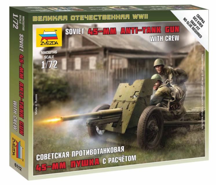 Zacvakávací figurky Zvezda 1:72 Soviet Gun 45mm *