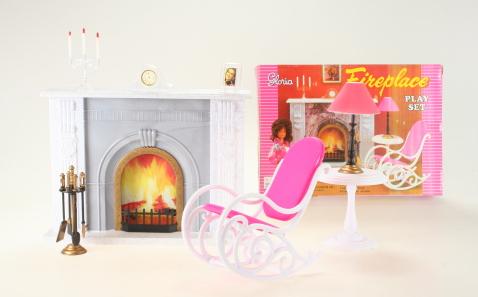 Nábytek Glorie pro panenky Barbie - Sada s krbem *