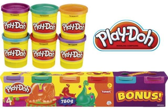 Plastelína sada Play Doh základní barvy 780G 4kelímky + 2 bonusem *