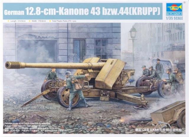 Slepovací model Trumpeter 1:35 Německé dělo 12,8cm 43BZW 44 Krupp *